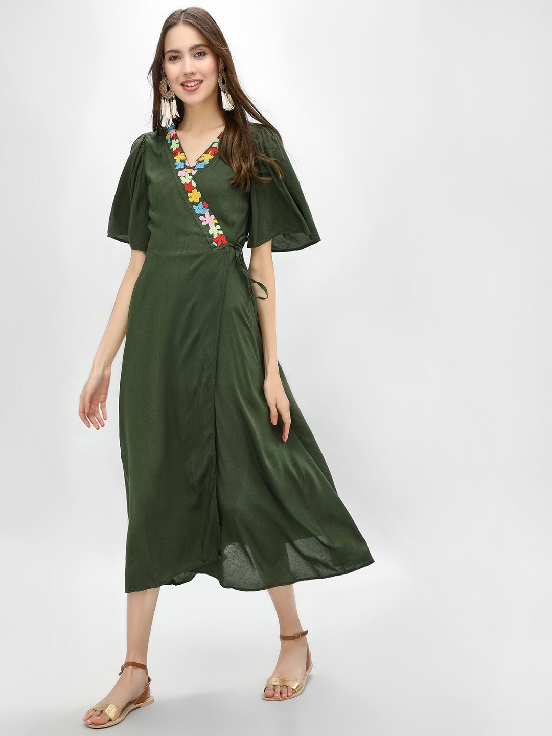 Kisscoast Olive Embroidered Wrap Front Midi Dress 1