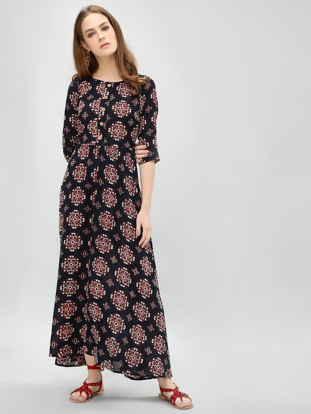 Kisscoast Multi Printed Flare Maxi Dress 1