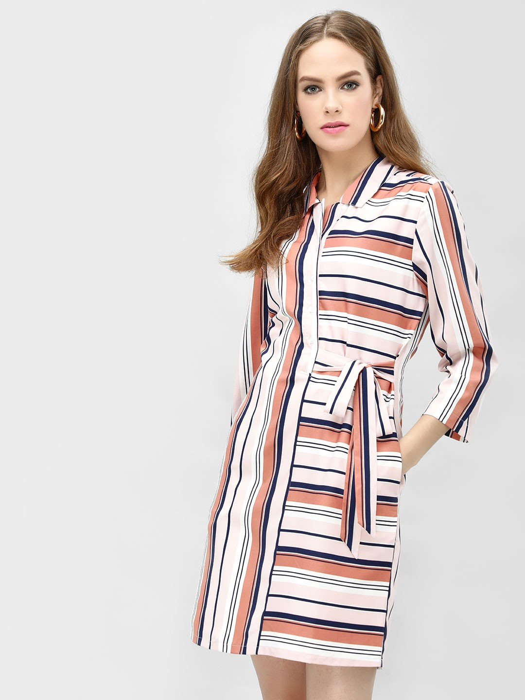 PostFold Pink/White Contrast Striped Tie-Up Shirt Dress 1