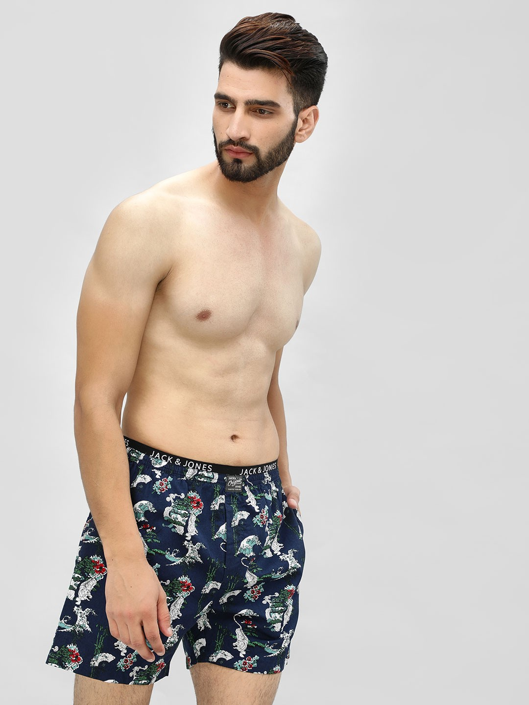 Jack & Jones Blue Japan Tiger Print Boxers 1