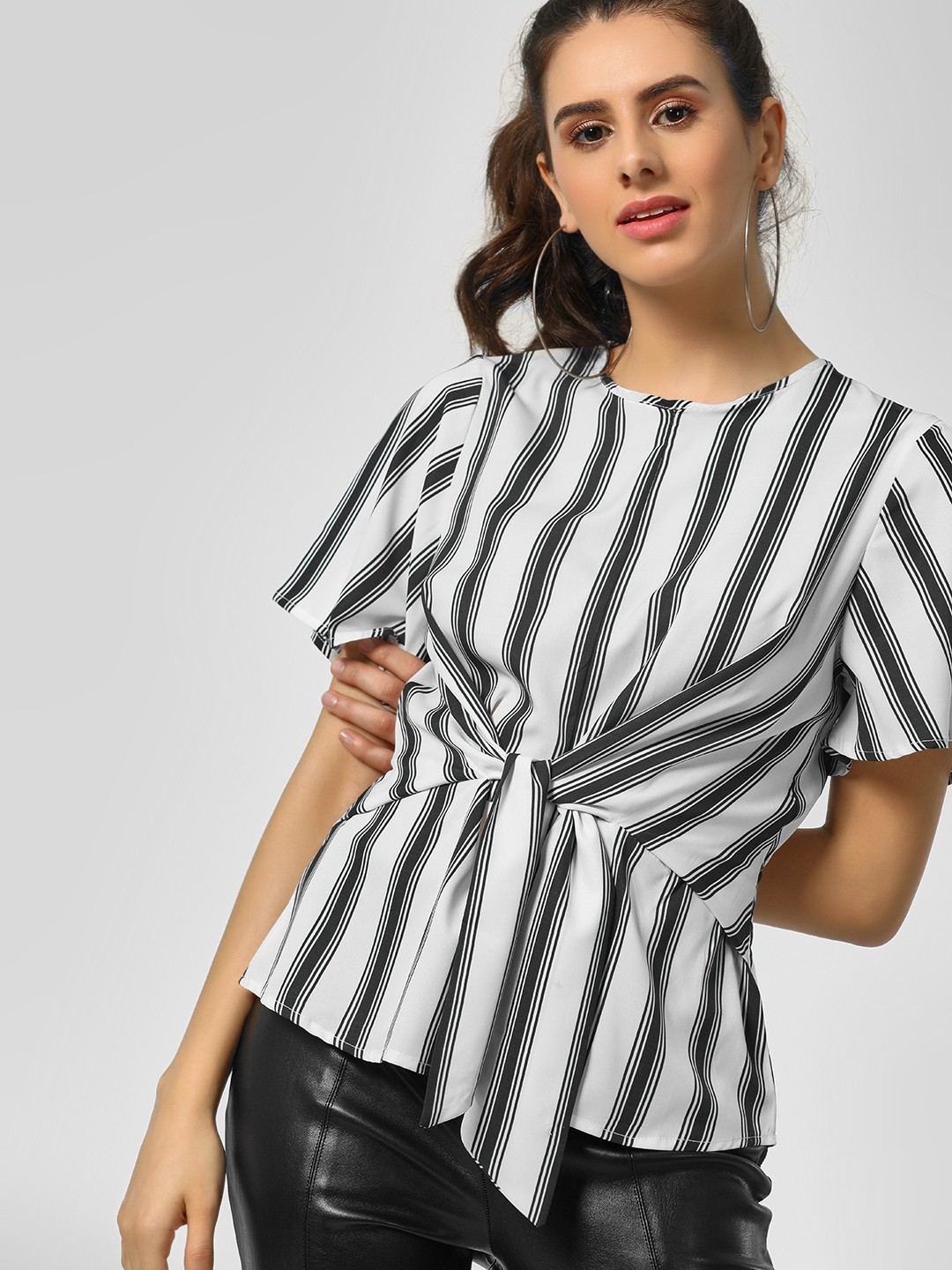 KOOVS Multi Striped Tie Front Top 1