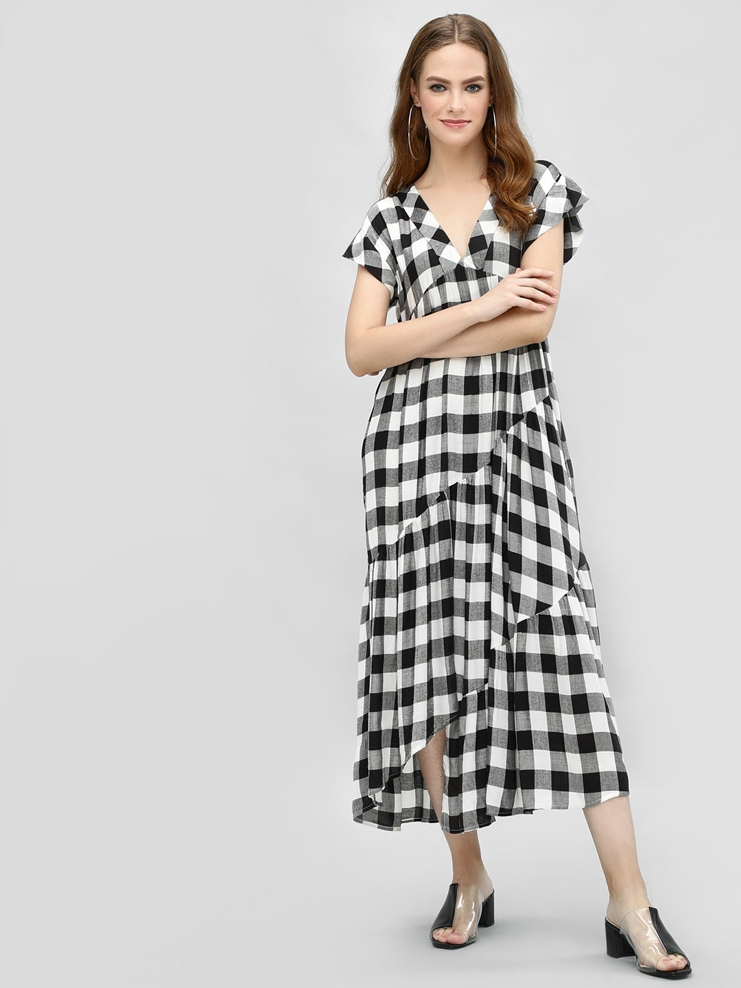 KOOVS Multi Check Tiered Maxi Dress 1