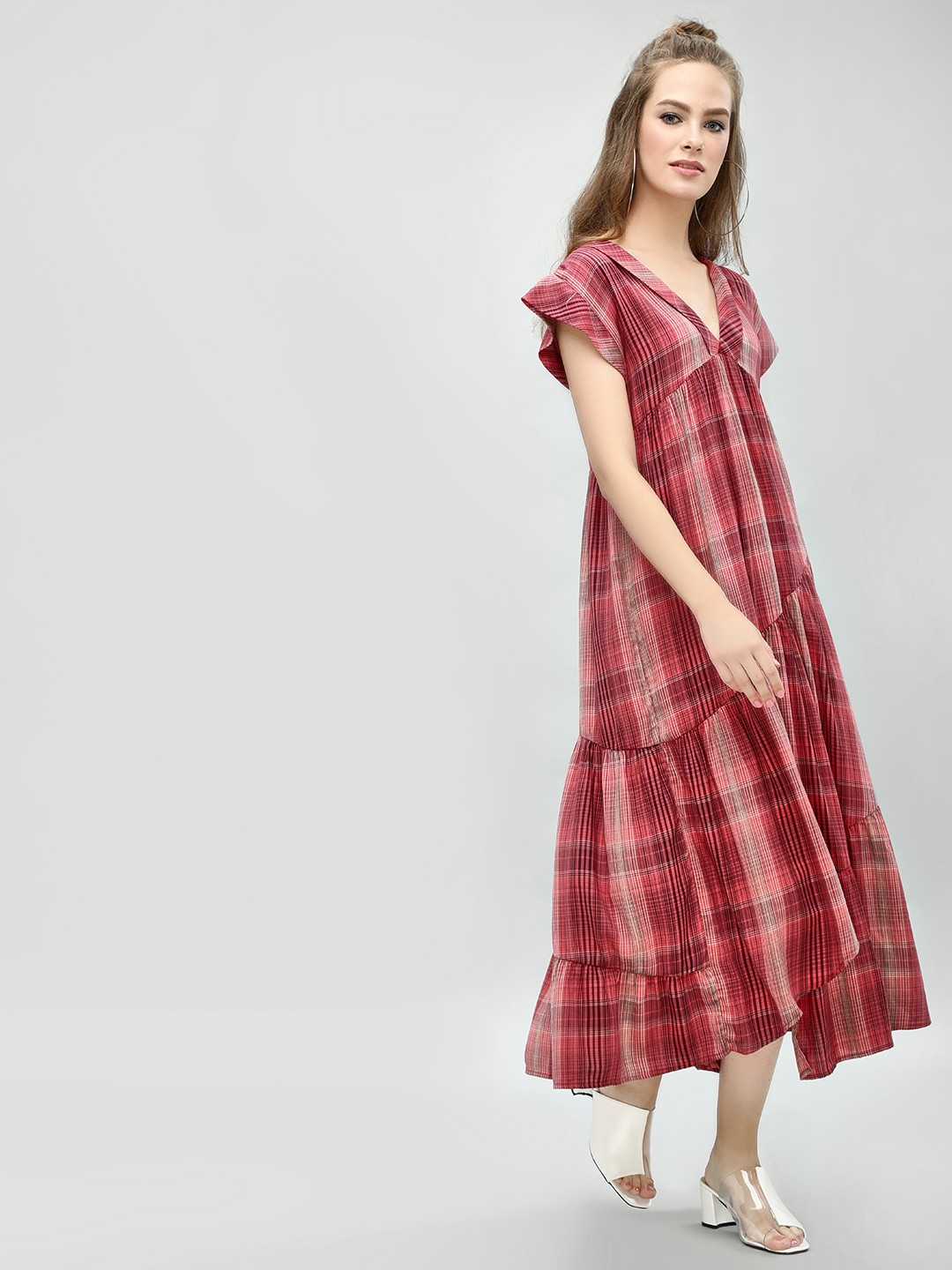 KOOVS Multi Checkered Multi-Tier Maxi Dress 1