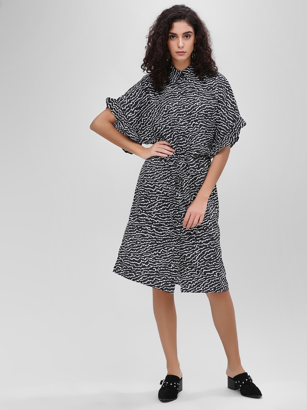 KOOVS Multi Monochrome Belted Shirt Dress 1