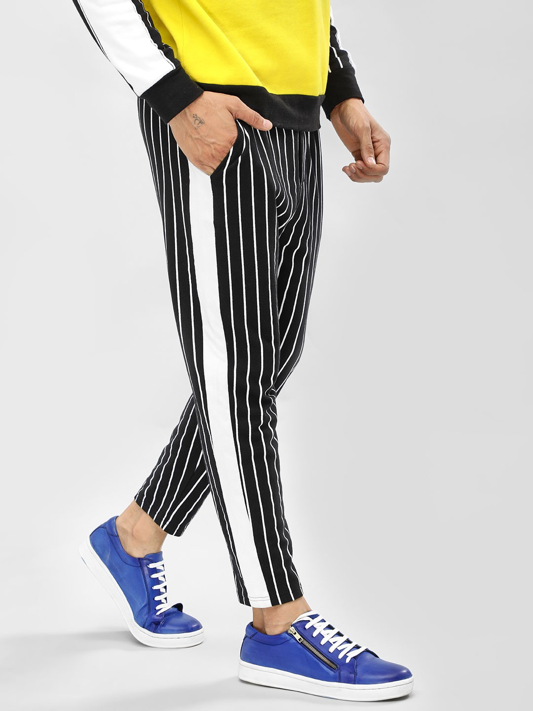 KOOVS Black Side Tape Pinstriped Joggers 1