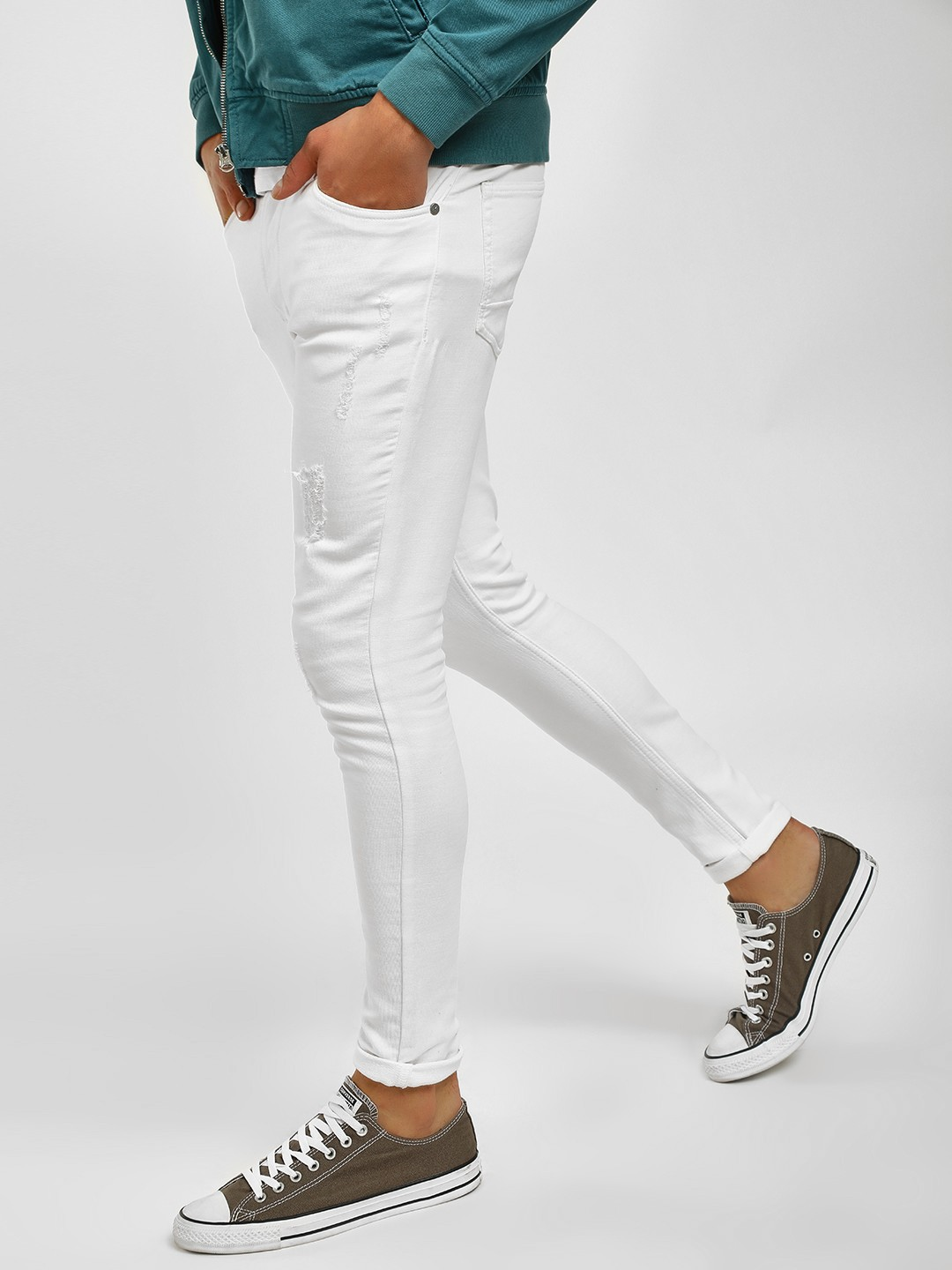 K Denim White KOOVS Distressed Skinny Fit Jeans 1