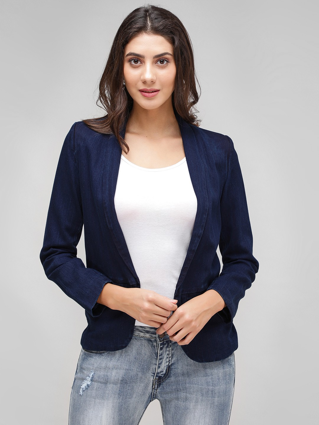 Vero Moda Blue Self Striped Denim Blazer 1