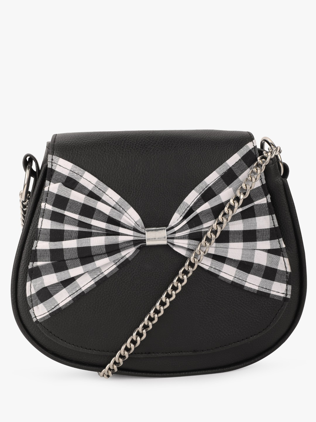 The Love Hook Black Checkered Bow Tie Sling Bag 1