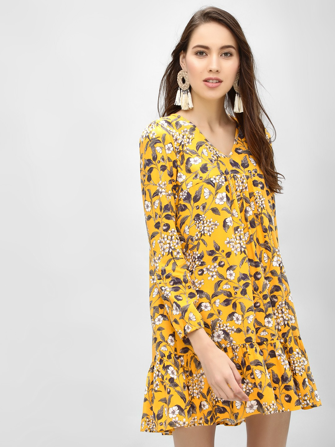 KOOVS Yellow Floral Print Shift Dress 1