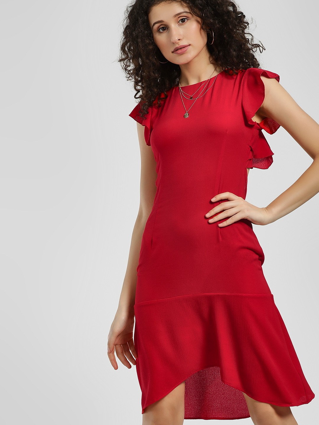 KOOVS Red Ruffle Back Cutout Shift Dress 1