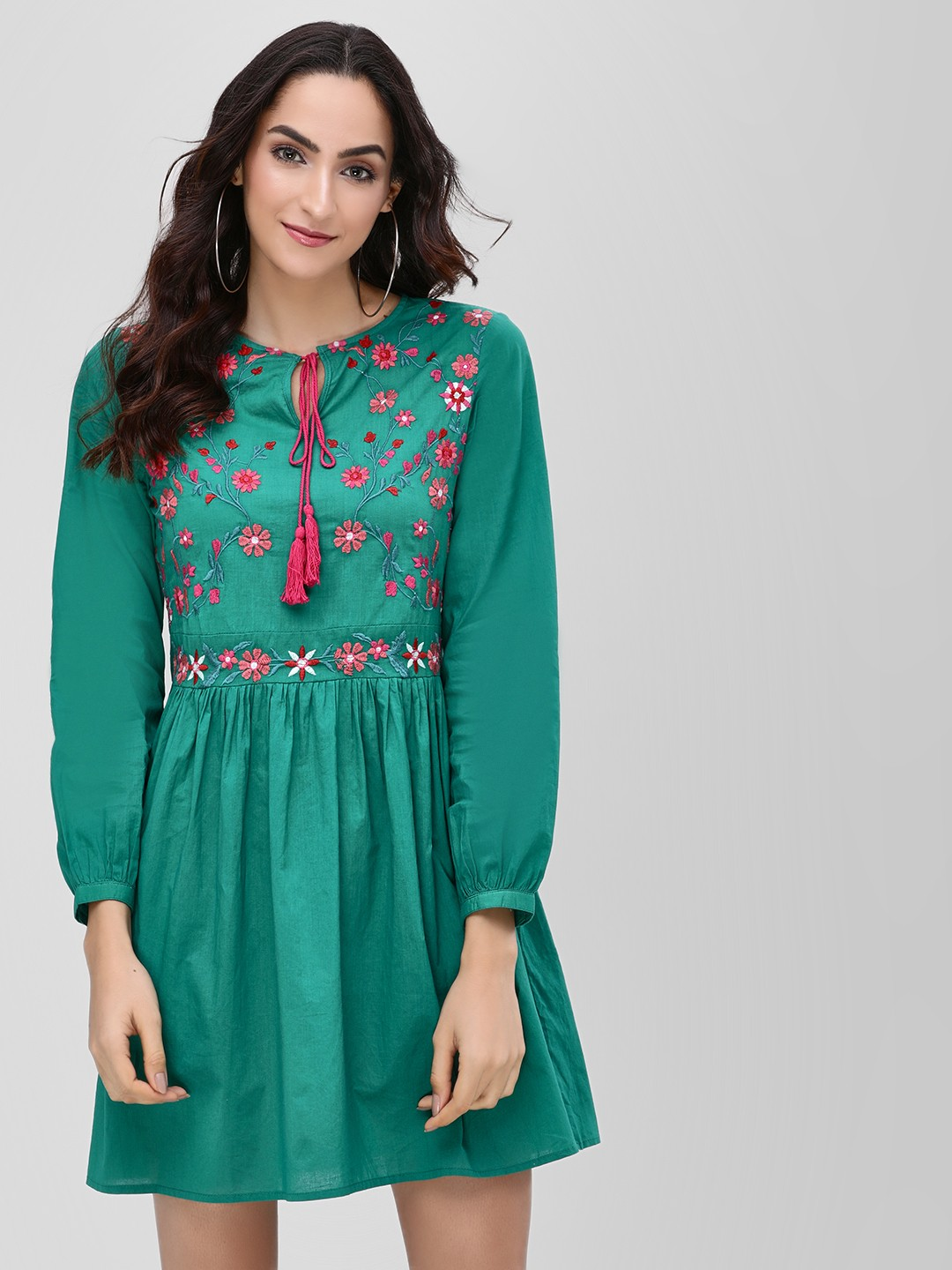 KOOVS EMERALD GREEN Shift Dress With Embroidery 1