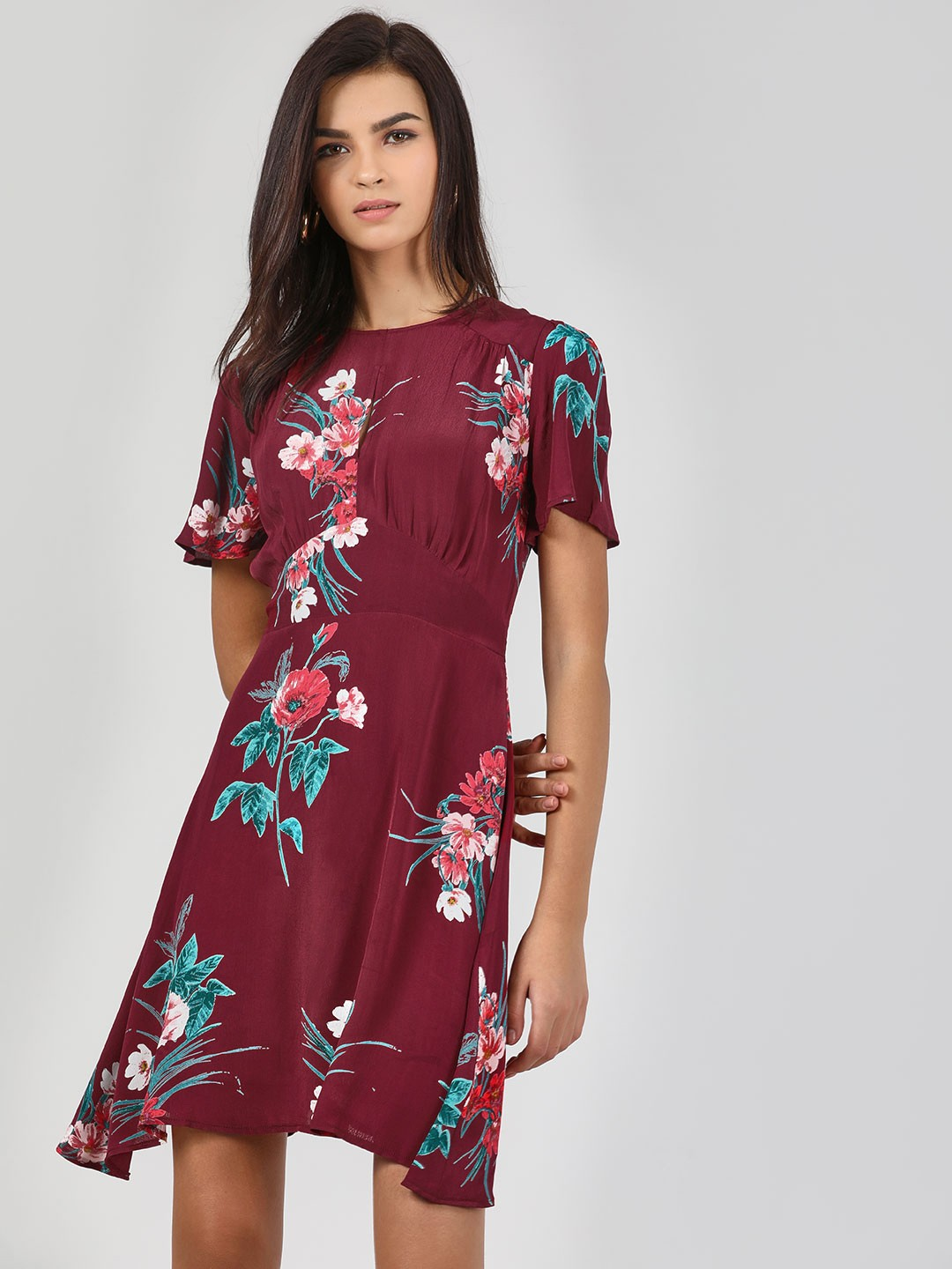 KOOVS Wine Floral Printed Skater Dress 1
