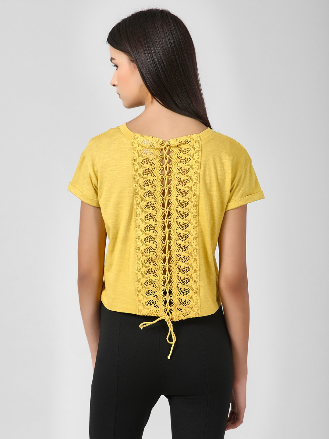 KOOVS Yellow Lace Up Back Crop Top 1