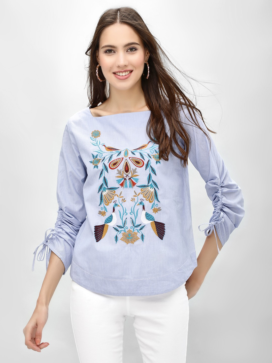 Rena Love Blue Embroidered Blouse With Ruched Sleeve 1