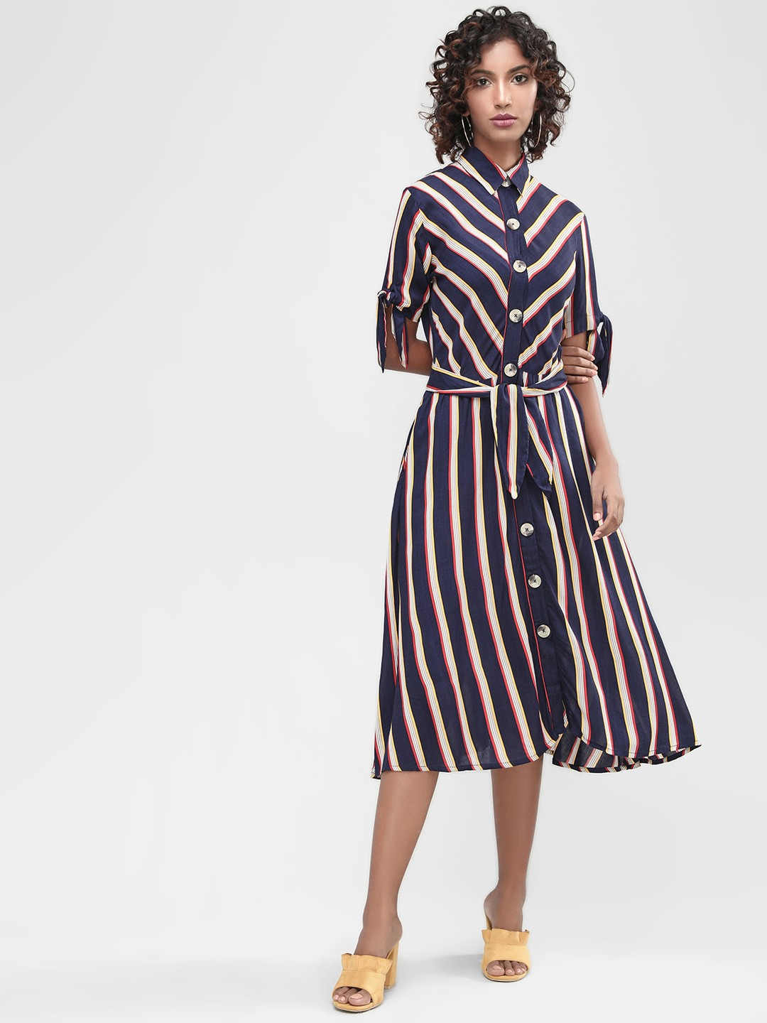 KOOVS Multi Striped Tie Cuff Shirt Dress 1