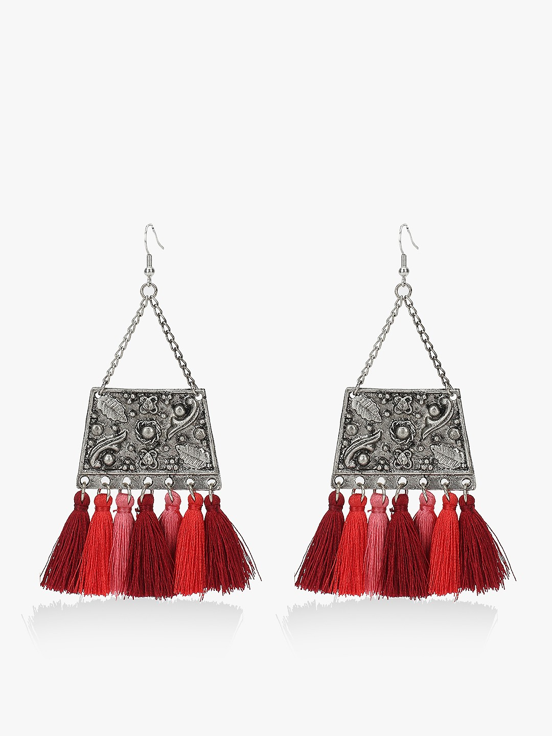 Blueberry Red Antique Tassel Drop Earrings 1