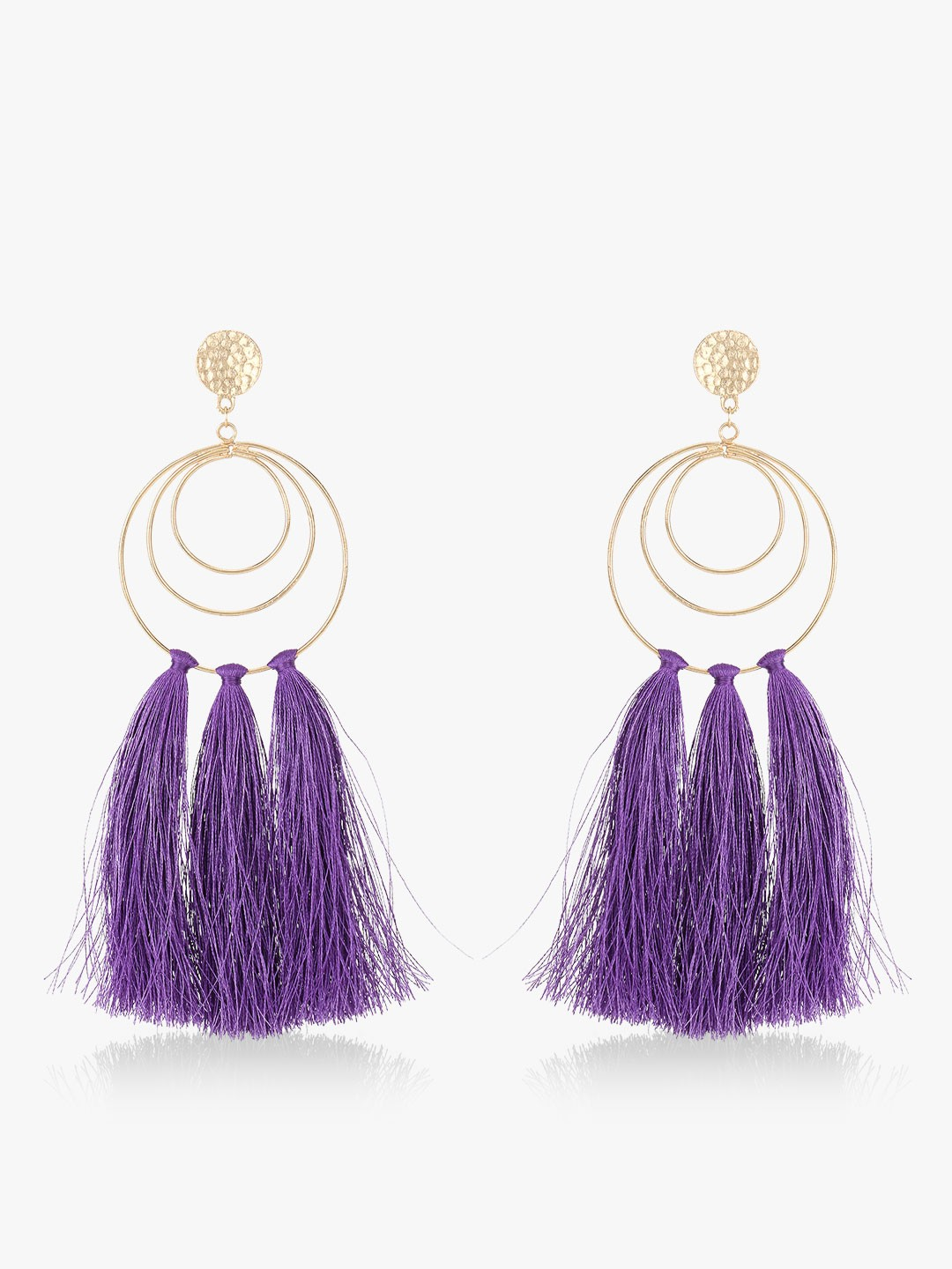 Blueberry Purple Tassel Drop Earrings 1