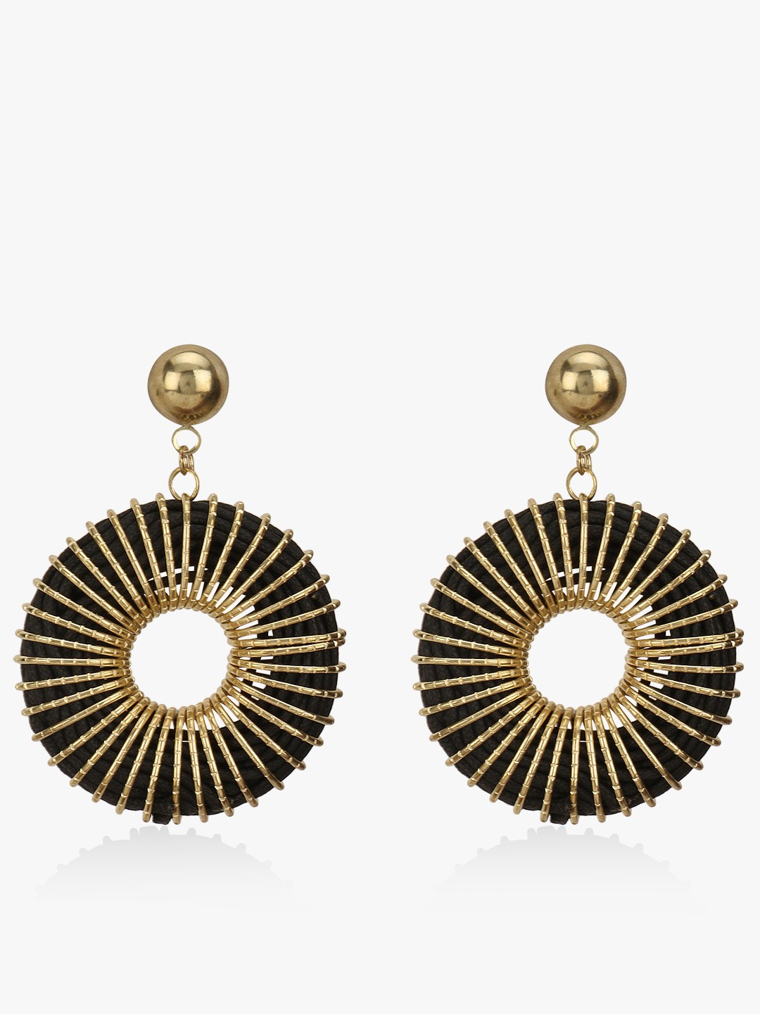 Blueberry Black Concentric Statement Earrings 1