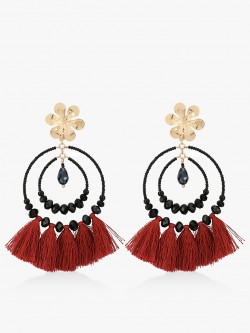 Blueberry Tassel Drop Statement Earrings