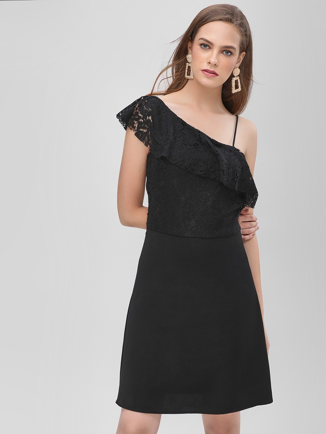 Only Black Ruffle Overlay Lace Skater Dress 1