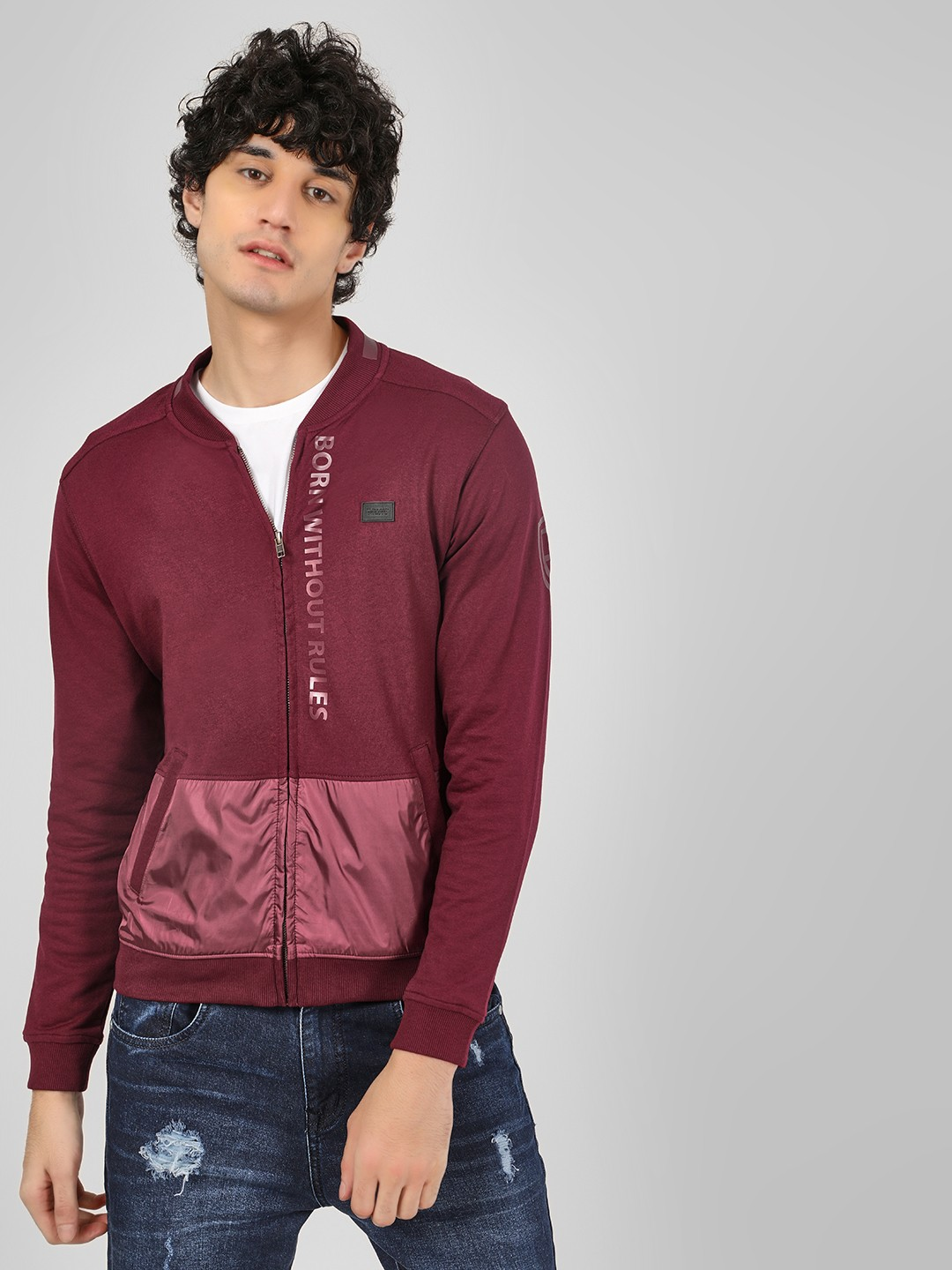 Flying Machine Maroon Zipper Cut And Sew Sweatshirt 1