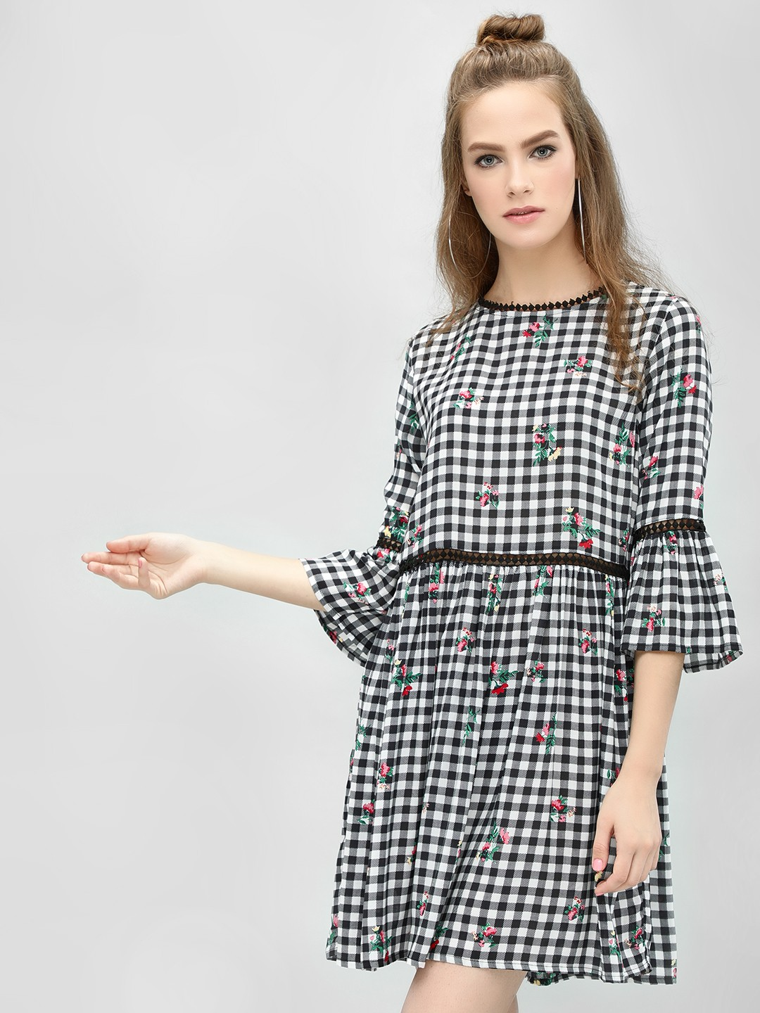 KOOVS Black/White Checkered Floral Print Dress 1