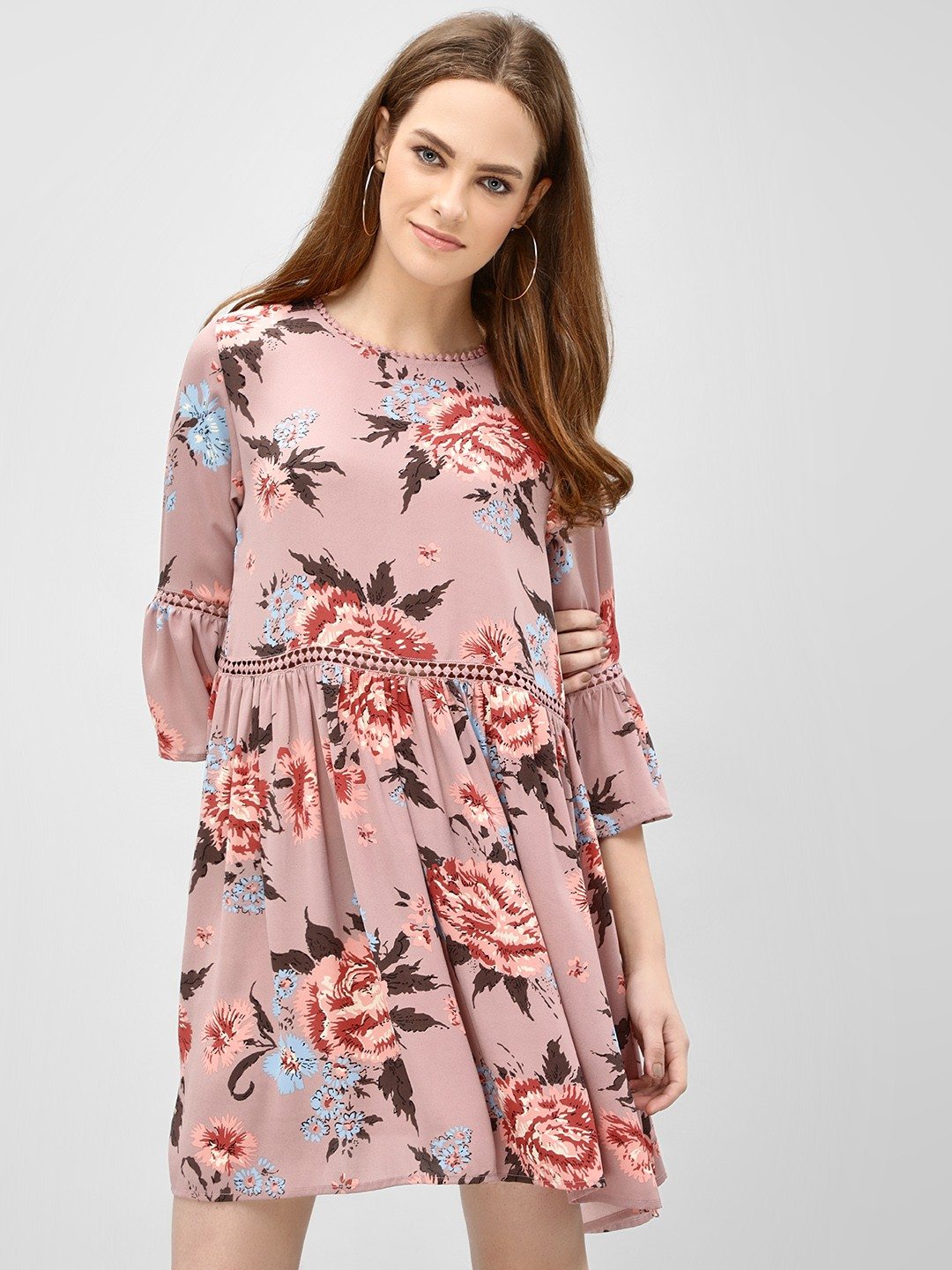 KOOVS Pink Floral Print Shift Dress 1