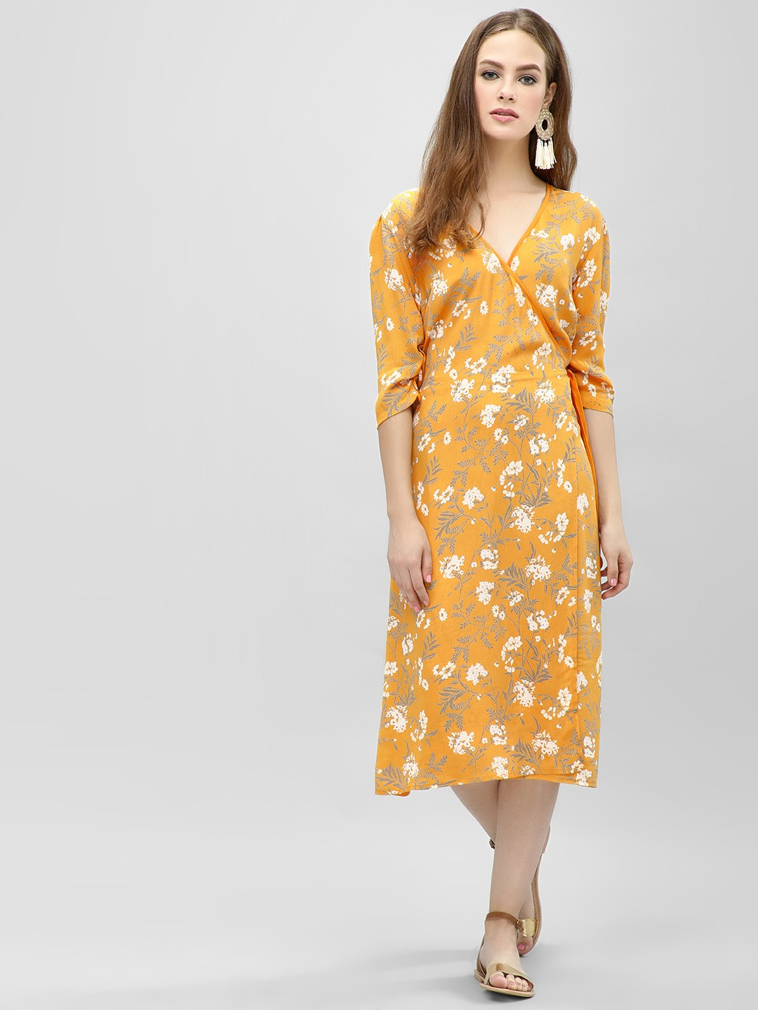 KOOVS Yellow Wrap Midi Shift Dress 1