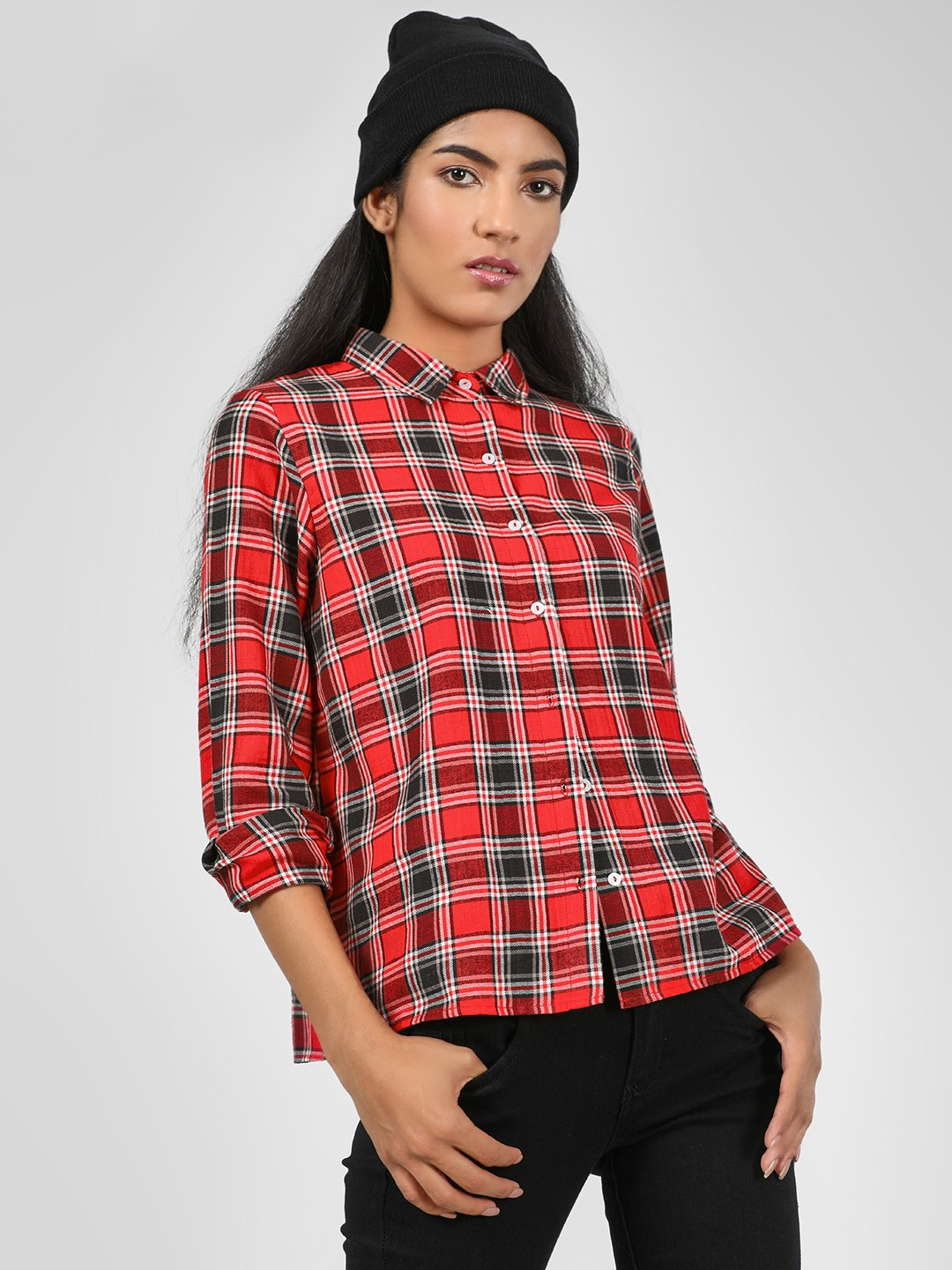 KOOVS Red Grindle Check Print Shirt 1