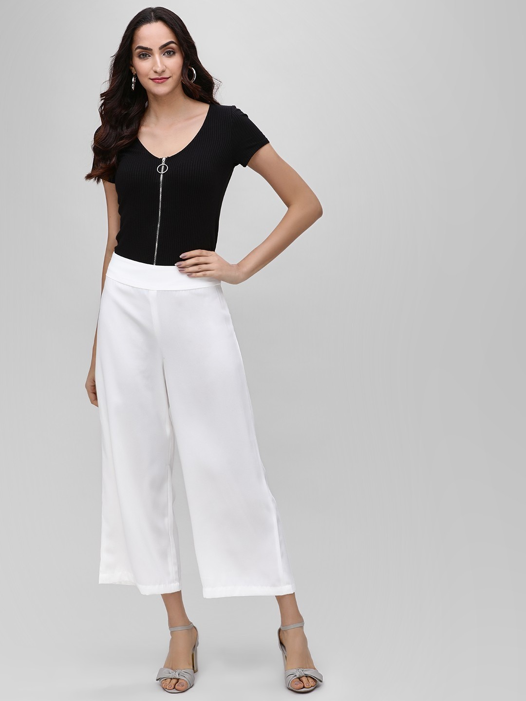Iris White Basic Wide Leg Trousers 1