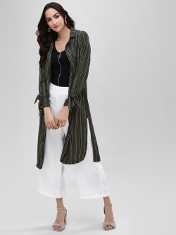 Iris Striped Open Front Longline Jacket