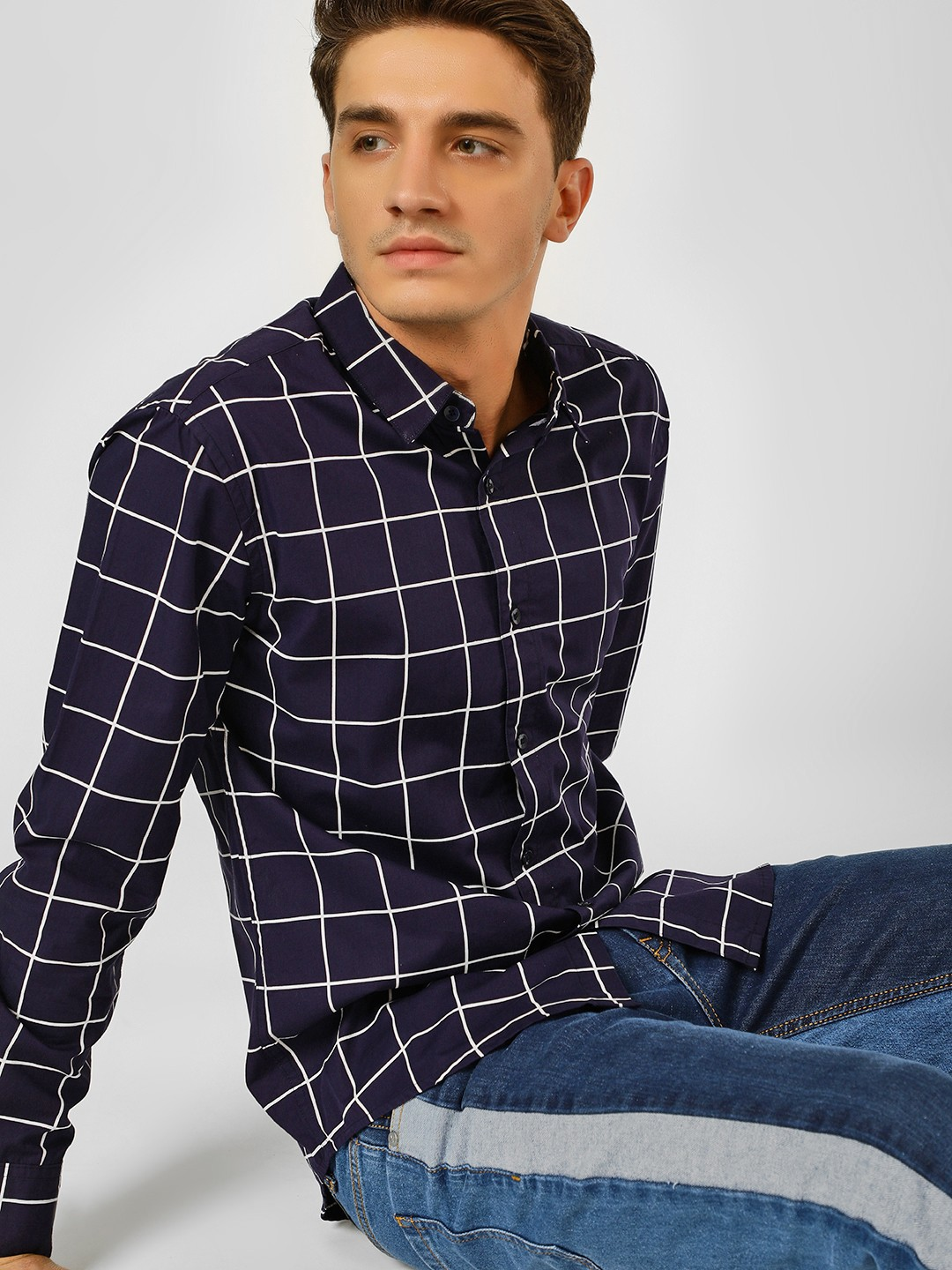 X.O.Y.O Blue Windowpane Check Casual Shirt 1