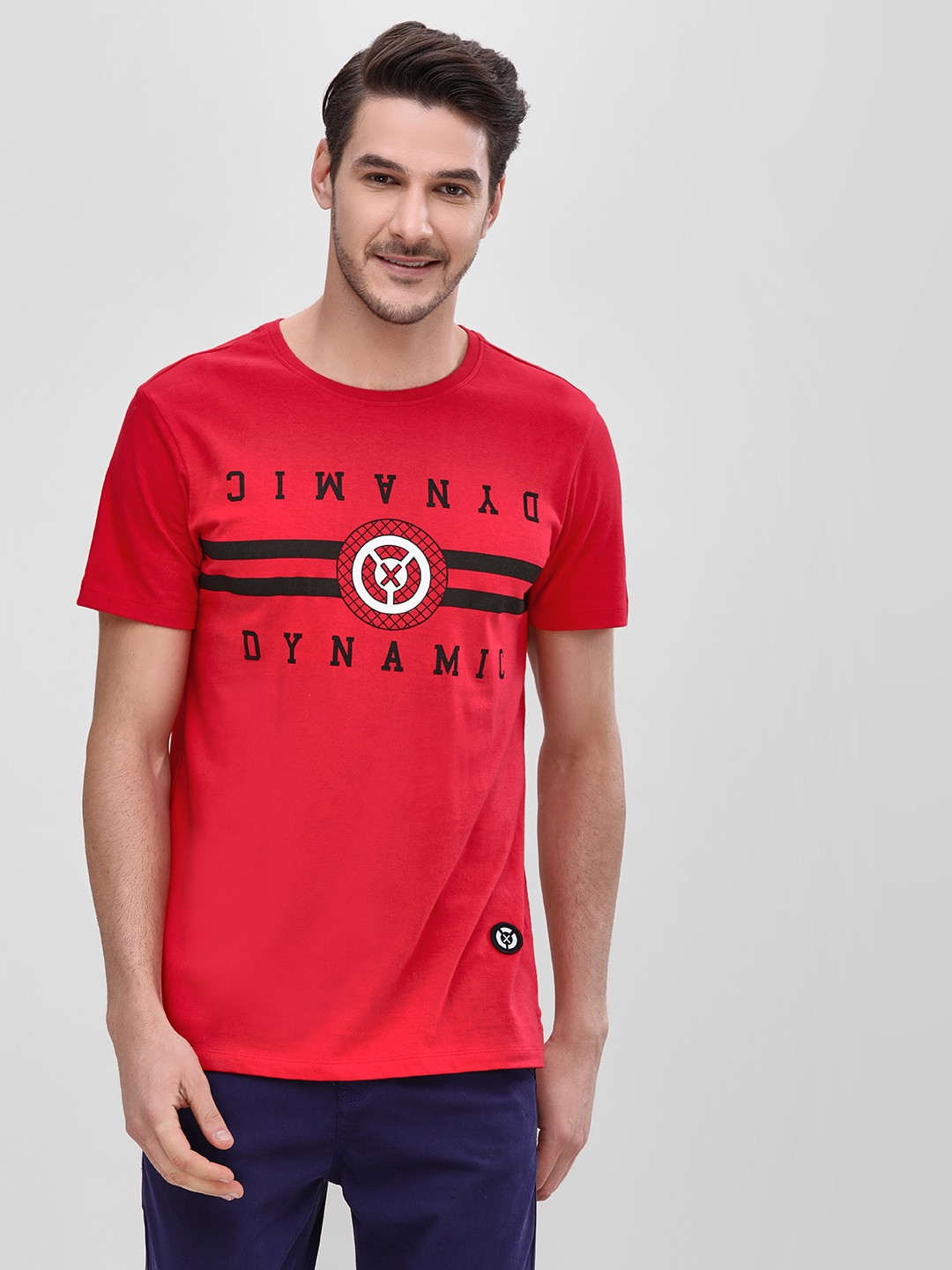 X.O.Y.O Red Crew Neck T-Shirt With Placement Print 1