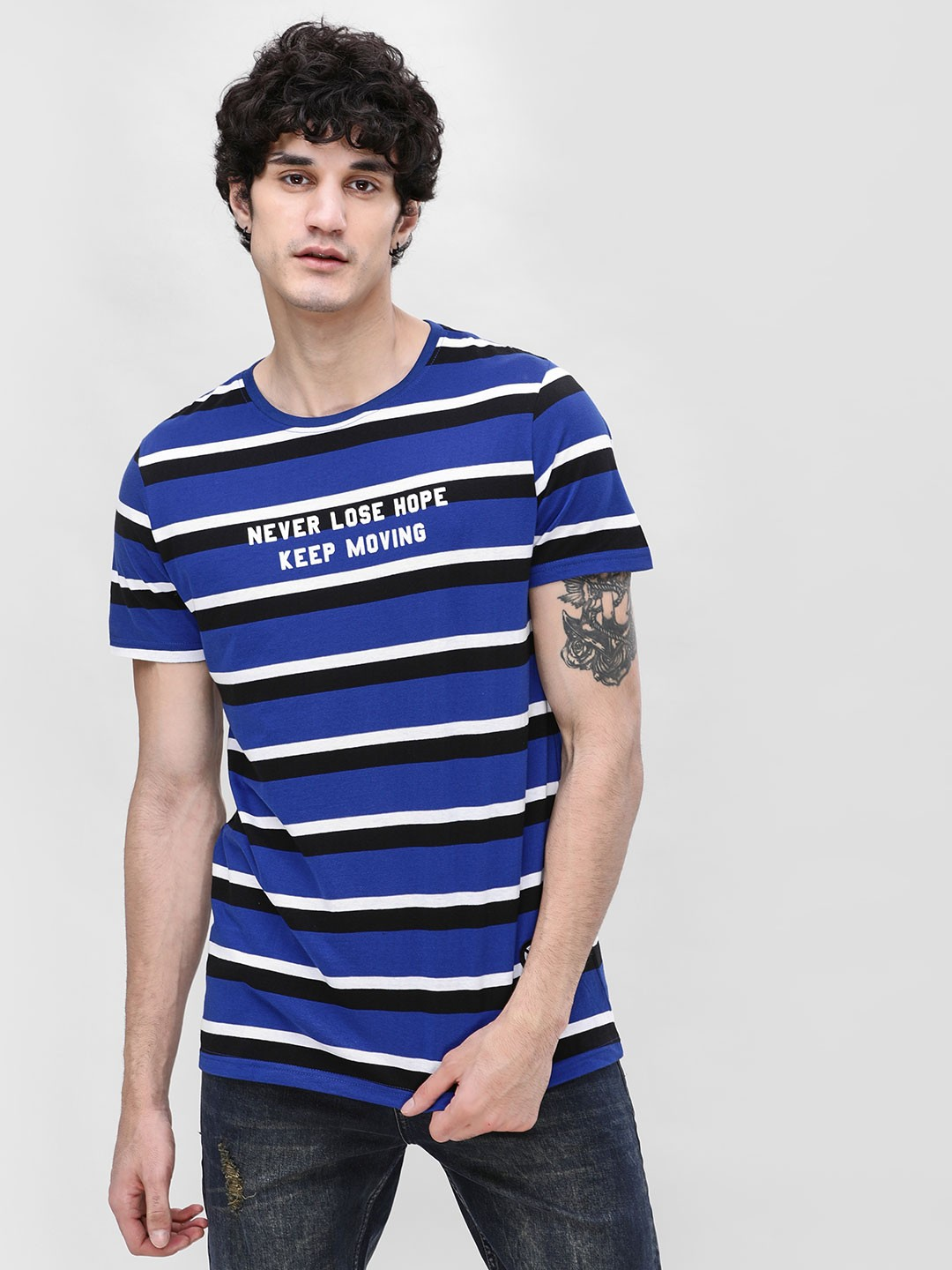 X.O.Y.O Blue Striped Slogan Print T-Shirt 1