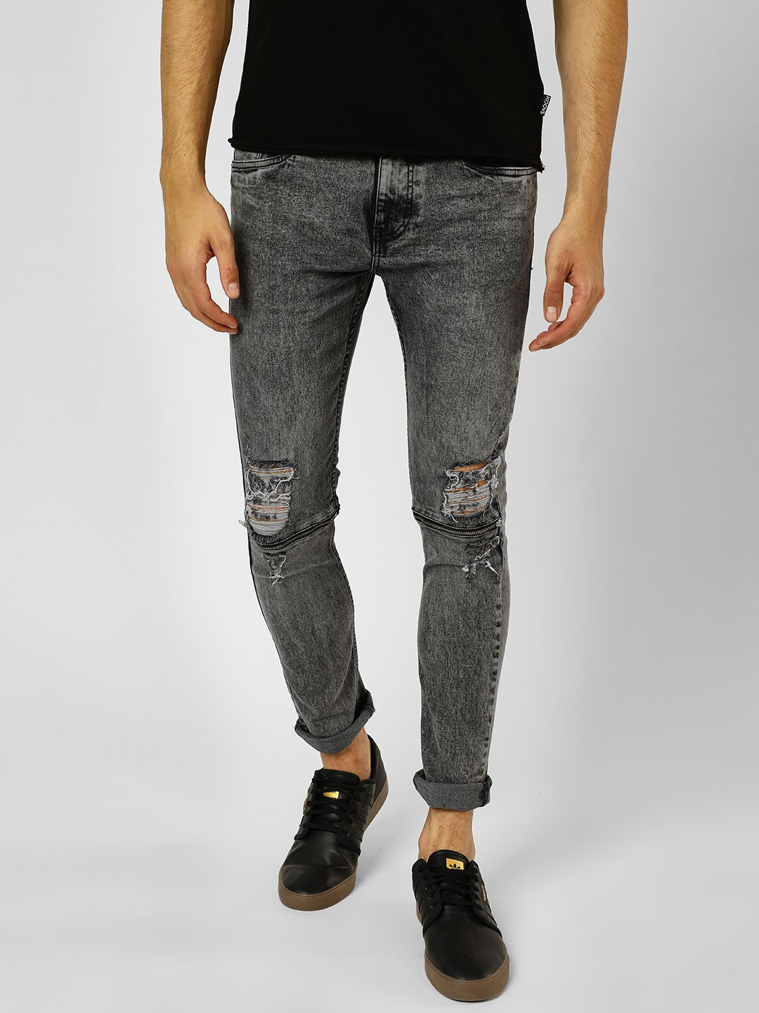 X.O.Y.O Grey Light Wash Distressed Skinny Fit Jeans 1