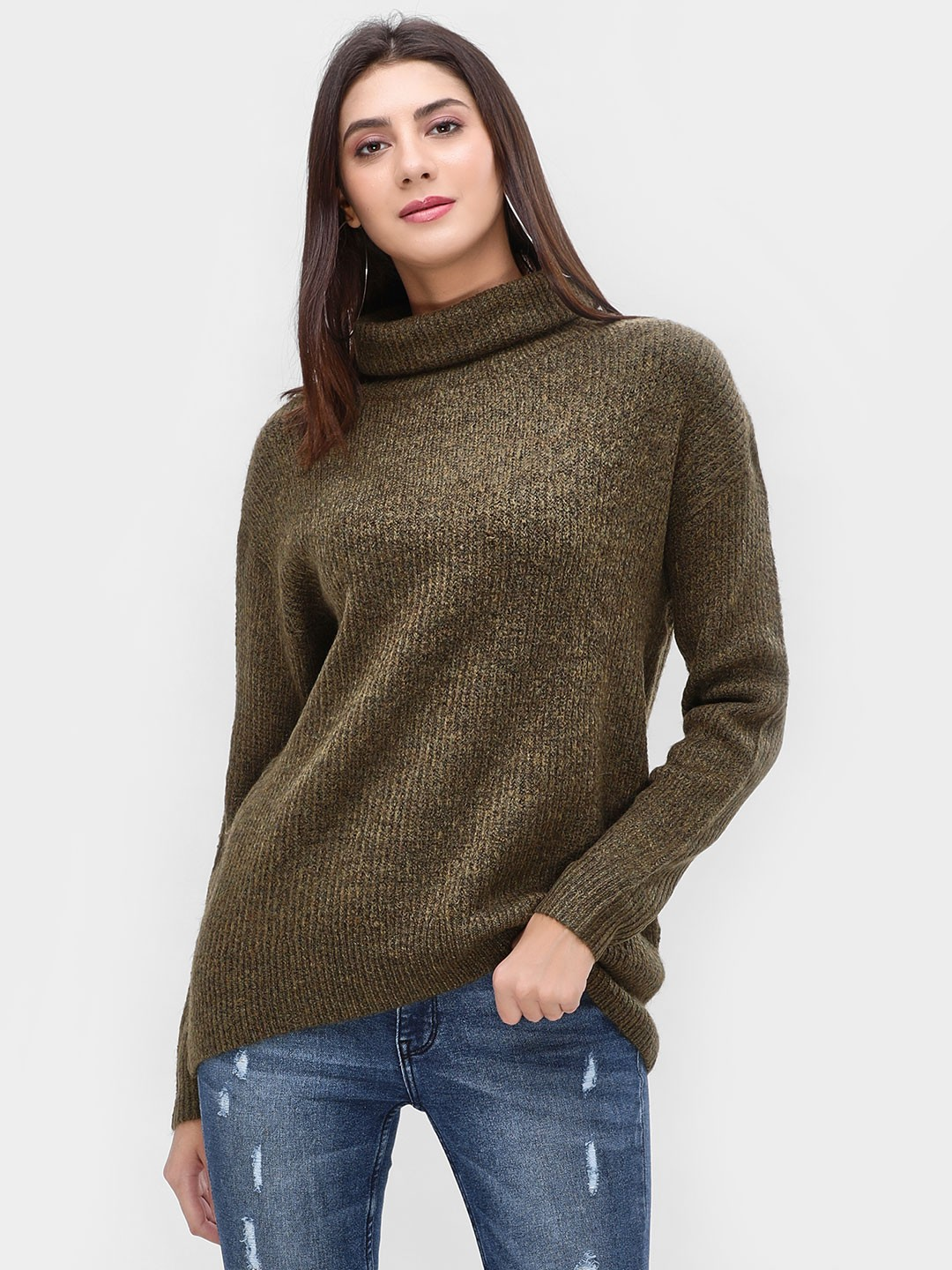 New Look Green Roll Neck Pullover 1