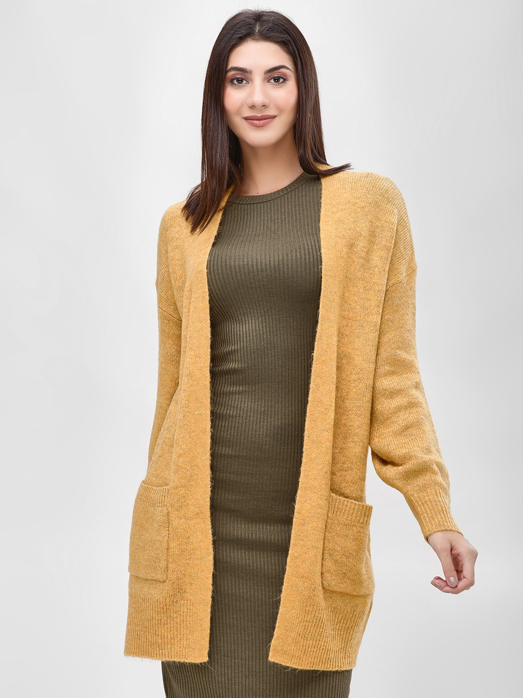 New Look dark yellow Twin Pocket Open Cardigan 1