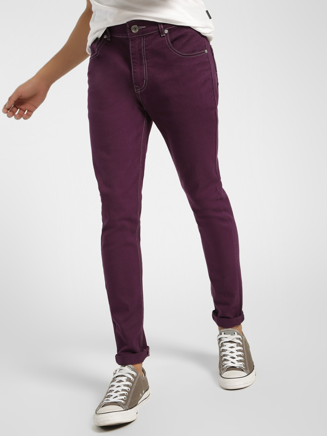 K Denim Purple KOOVS Overdyed Skinny Fit Jeans 1