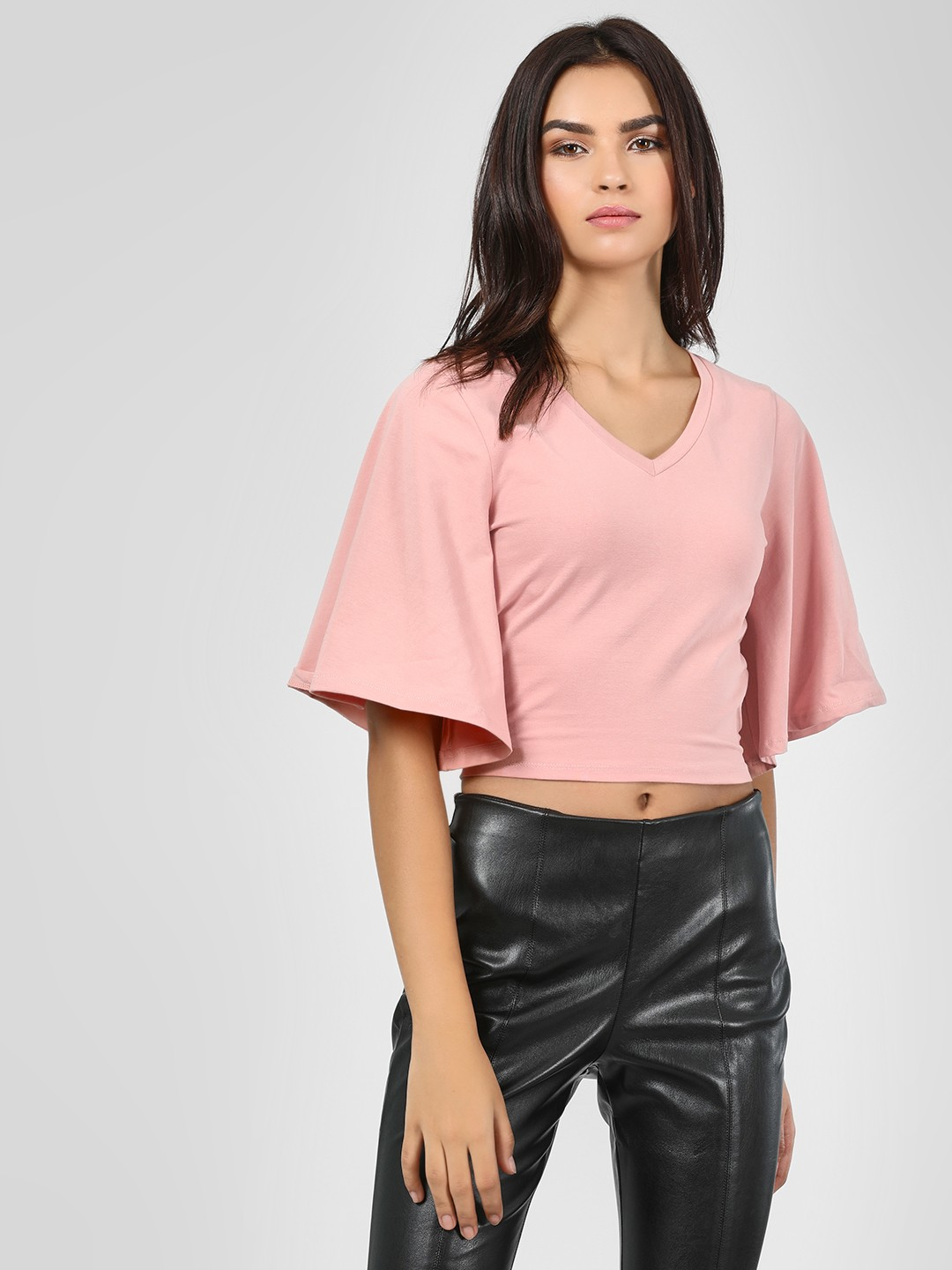 KOOVS Pink Wrap Back Crop Top 1
