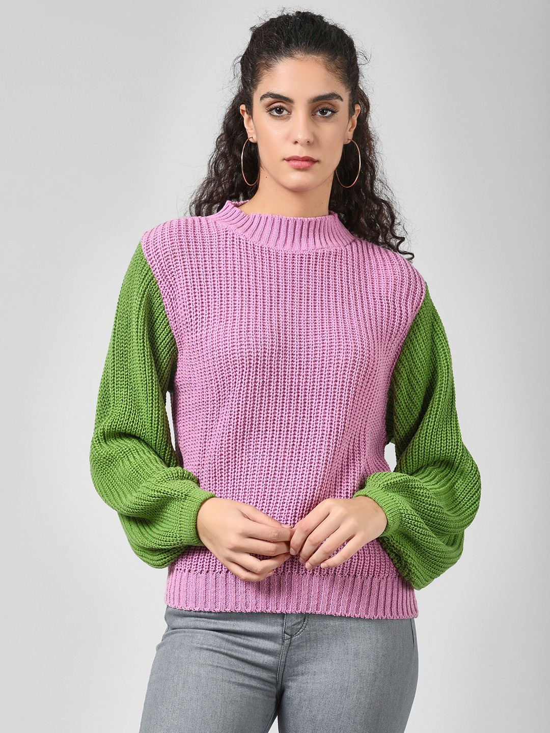 Glamorous Pink Colour Block Jumper 1