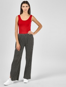 Glamorous Plisse Spot Print Trousers with Slits