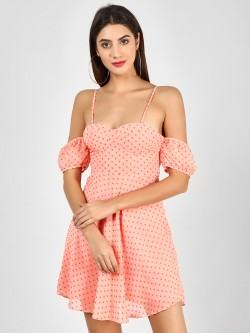 Glamorous Dobby Heart Cold Shoulder Dress
