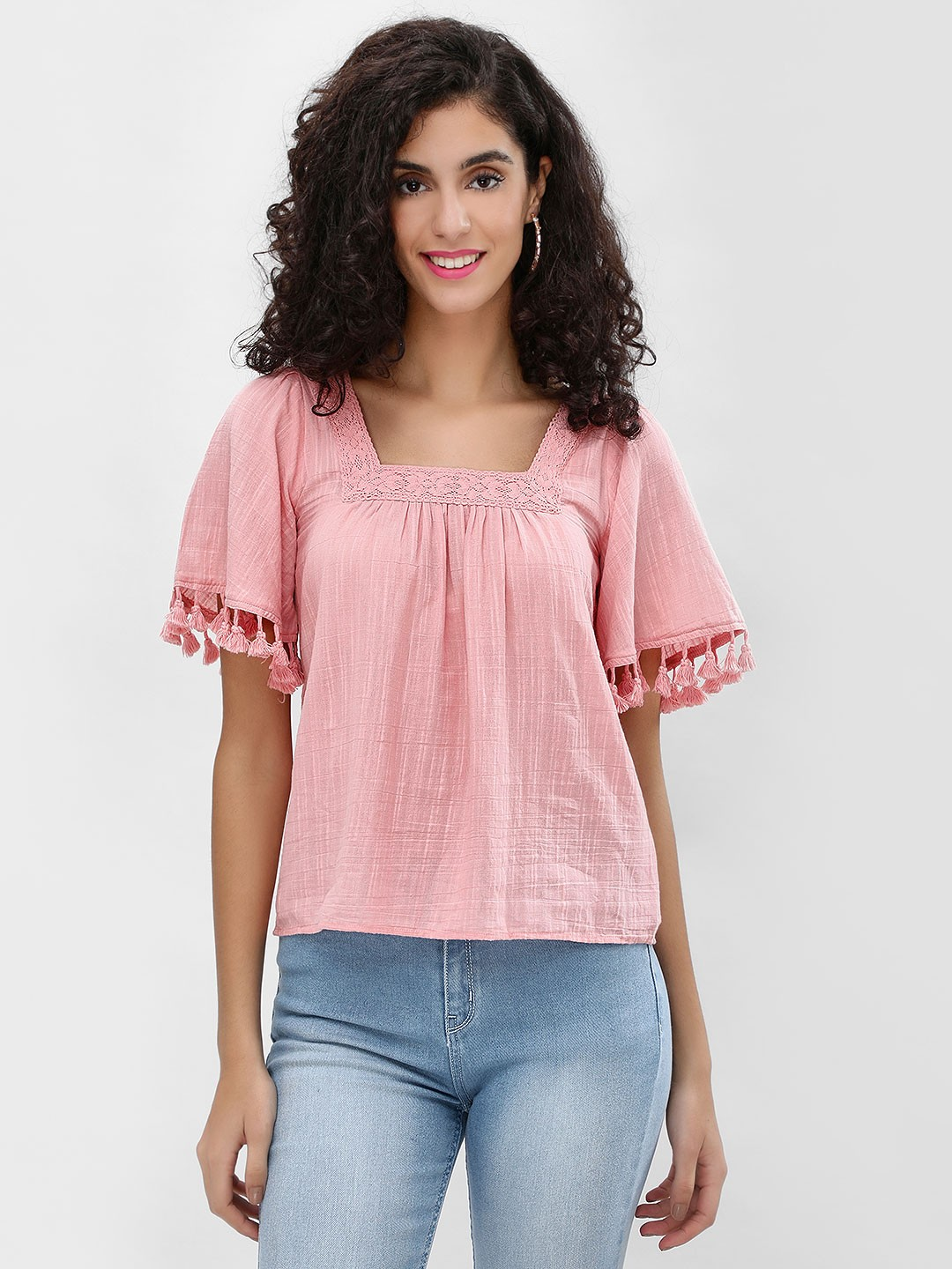 Cover Story Blush Lace Square Neck Blouse 1
