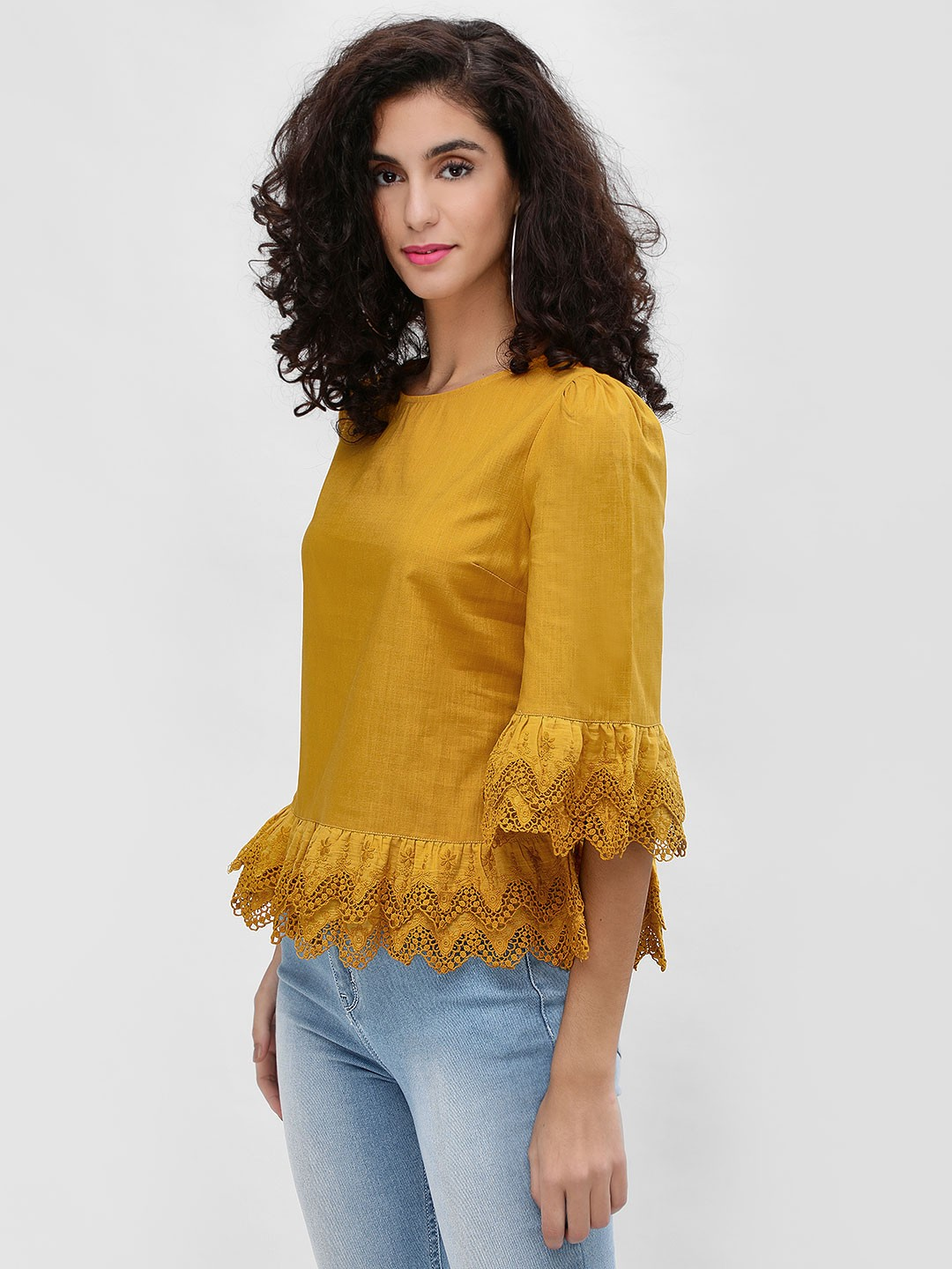 Cover Story Mustard Tiered Broderie Hem Blouse 1