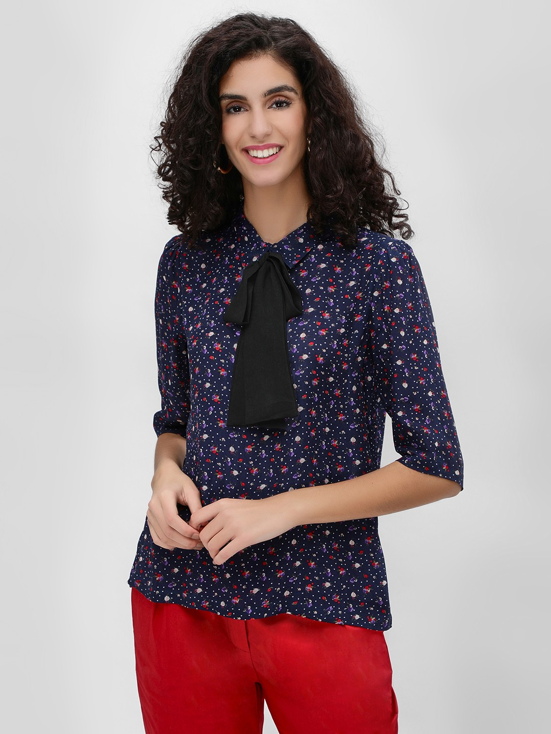 Cover Story Navy Floral Printed Contrast Bow Blouse 1