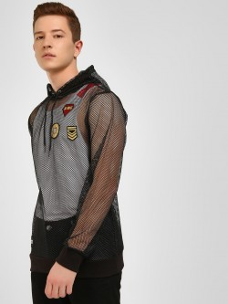 KOOVS Badge Applique Mesh Hoodie