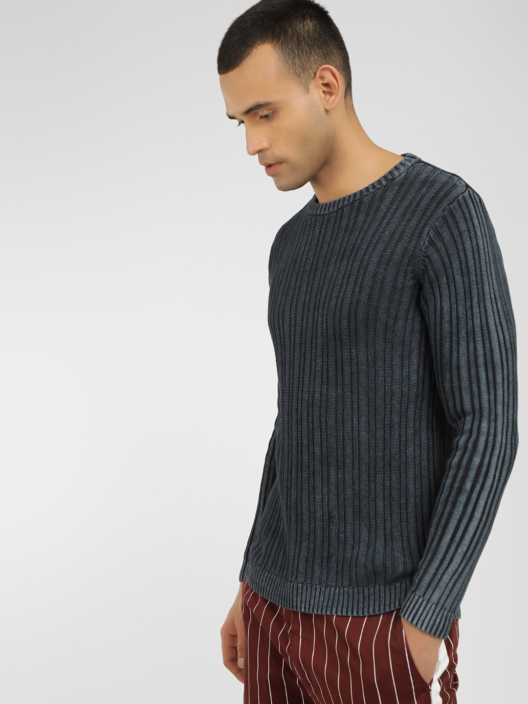KOOVS Navy Acid Washed Ribbed Pullover 1