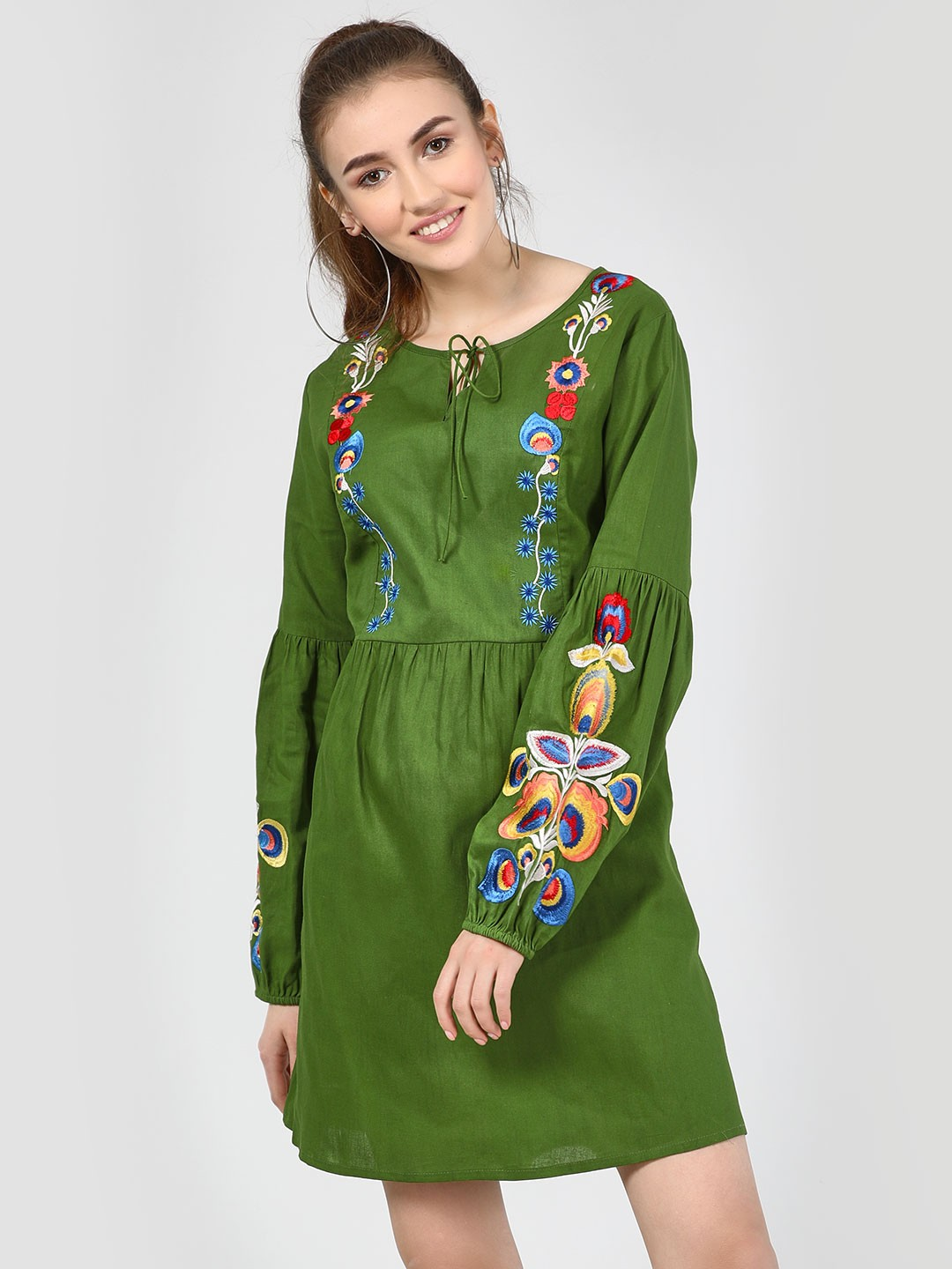 KOOVS Green Embroidered Balloon Sleeve Mini Dress 1