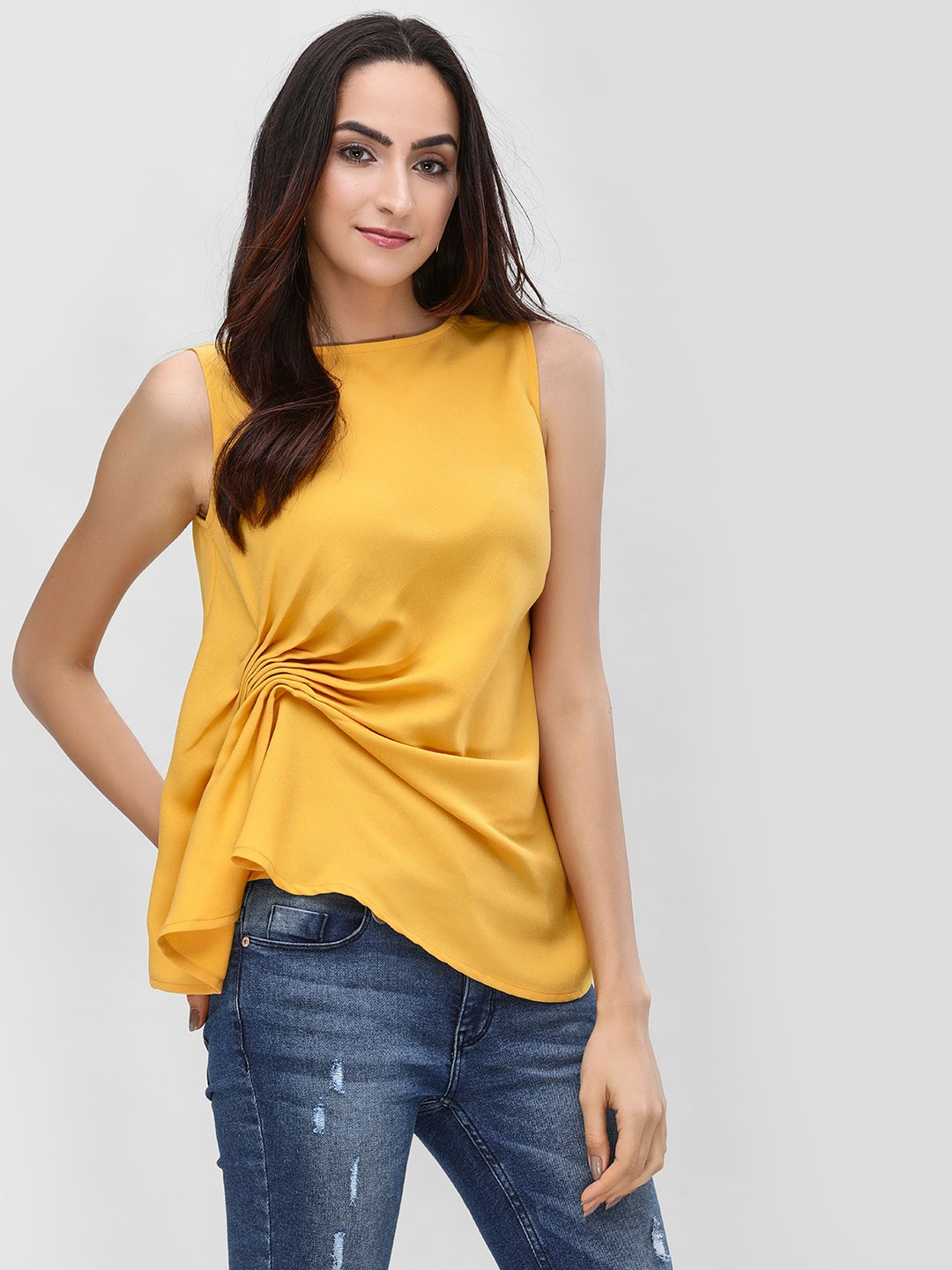 KOOVS Yellow Pintuck Detail Sleeveless Top 1