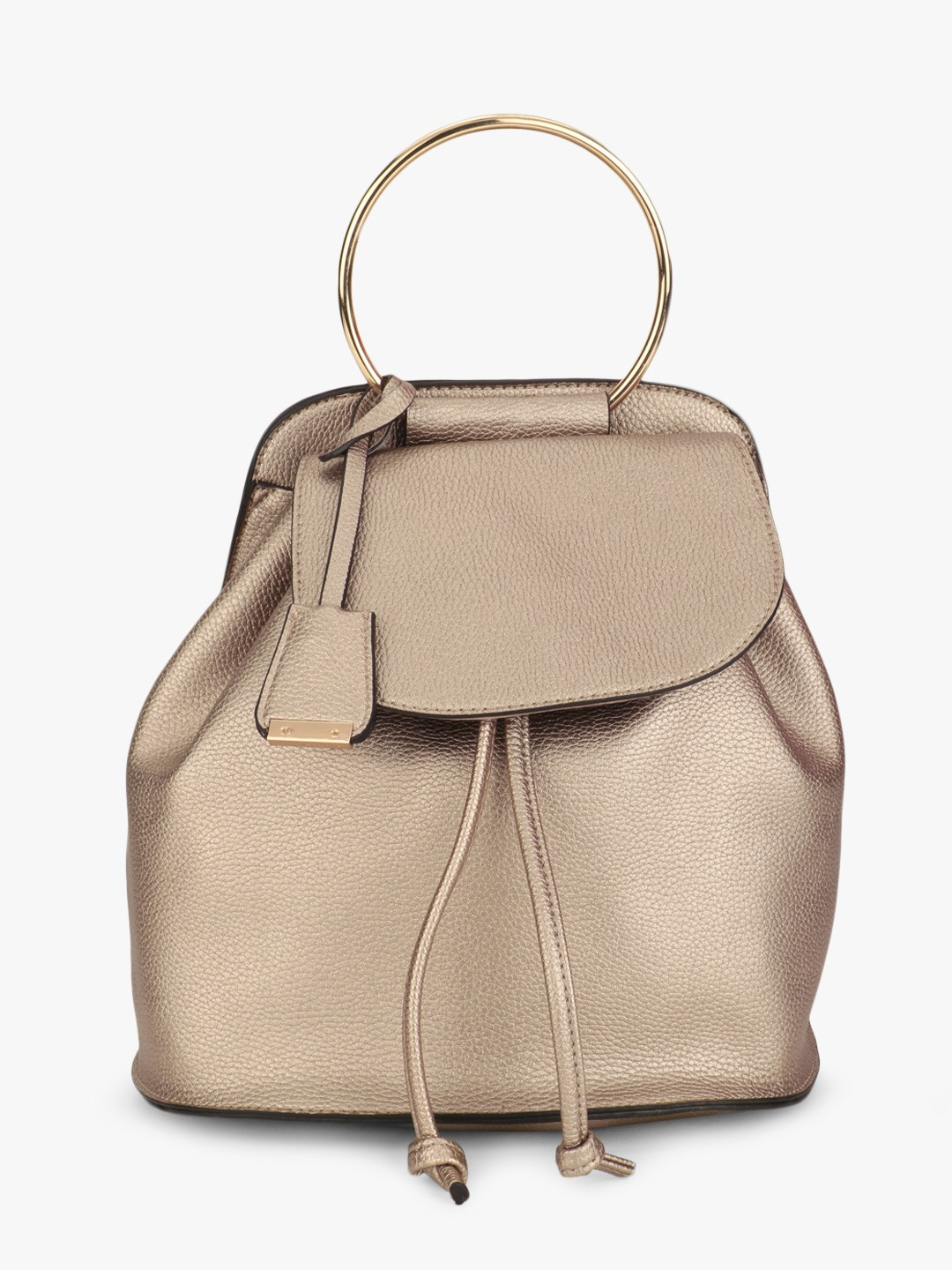 Glamorous Grey Ring Handle Metallic Backpack 1